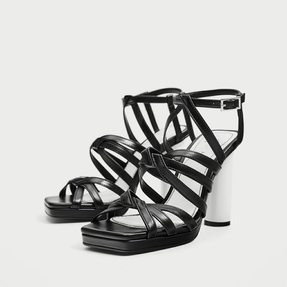dd9ff3cf90c Zara Black Leather Sandals with White Heel